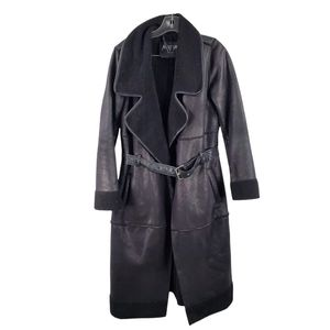 Nasty Gal Fleece Lined Trench Coat Jacket Black
